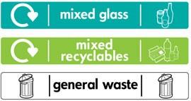 наклейка прочий мусор, стекло, для раздельного сбора мусора Glasdon на урну Jubilee