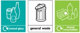 наклейка для раздельного сбора мусора Glasdon на урну Jubilee