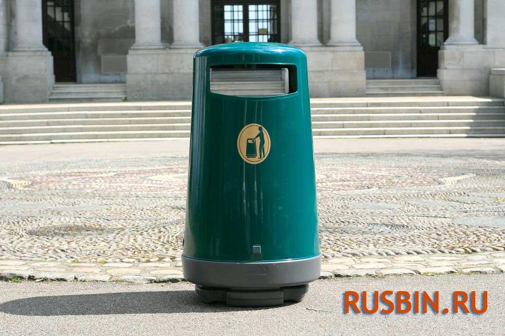 Зеленая мусорная урна Glasdon topsy 2000 установка перед входом