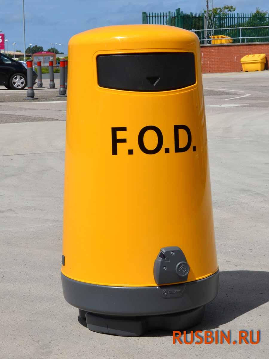 Урна для мусора в аэропорту glasdon topsy 2000 желтого цвета