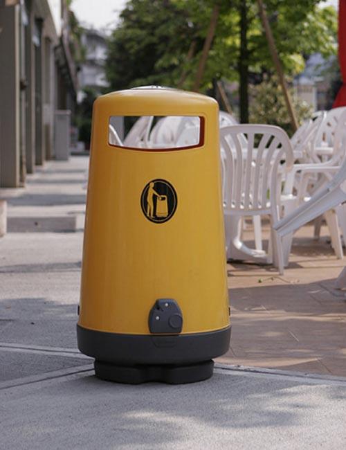 Урна для сбора мусора glasdon topsy 2000 желтого цвета, установка в зоне кафе