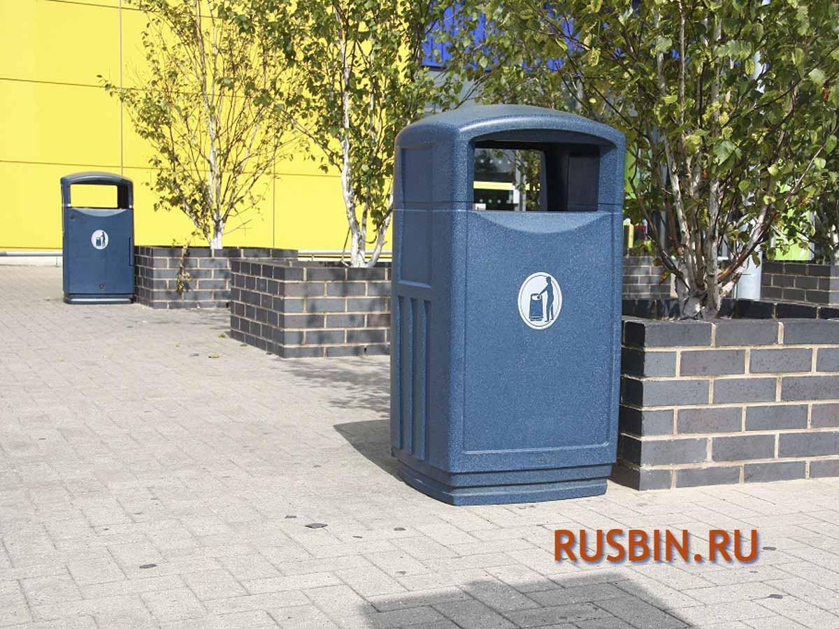 урны установленные перед входом Glasdon Futuro антивандальные цвет синий