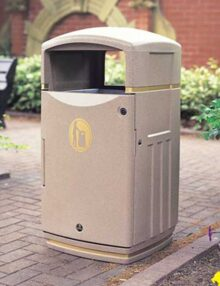 Урна для сбора мусора антивандальная Glasdon Futuro светло-бежевый цвет