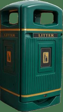 Антивандальная урна для мусора Glasdon Jubille зеленого цвета