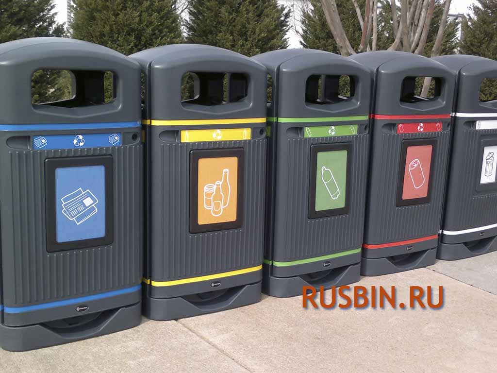 раздельный сбор мусора в москве в урны Glasdon Jubilee