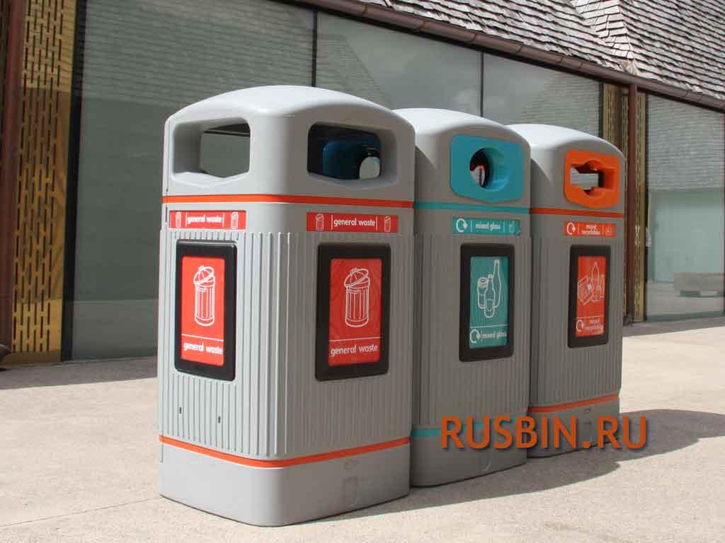 серые уличные мусорные урны для раздельного сбора Glasdon Jubilee