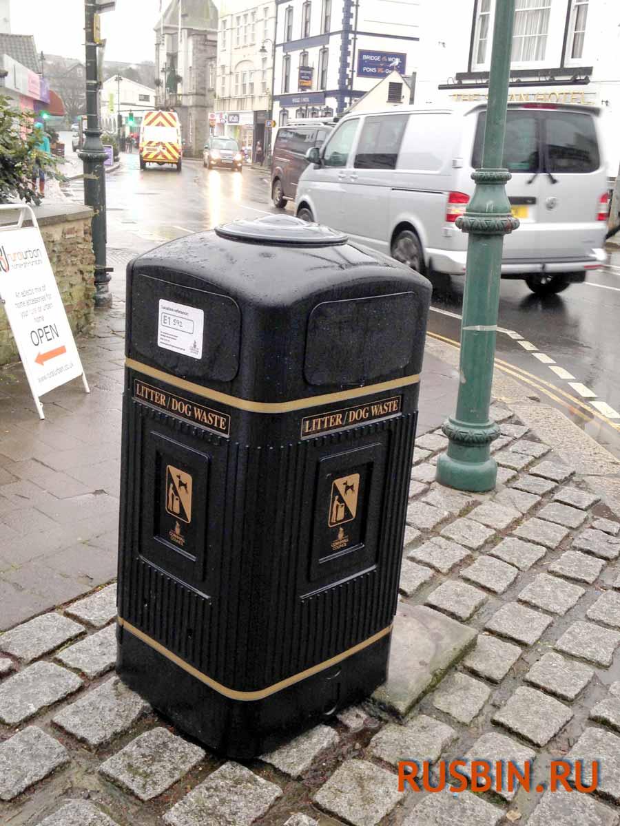 Glasdon Jubille черная мусорная антивандальная урна на улице города