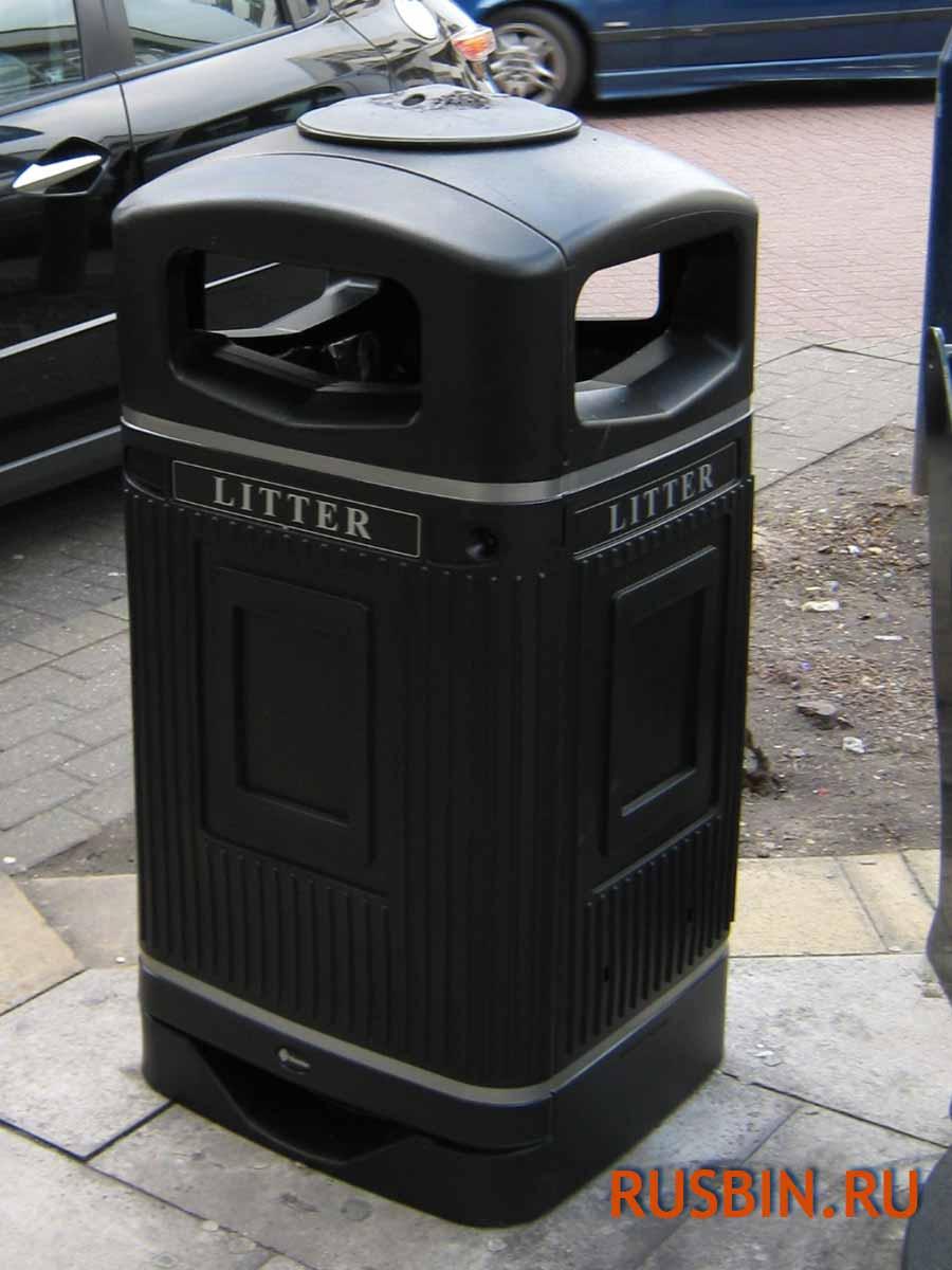Урна уличная мусорная антивандальная Glasdon Jubille 110 литров черного цвета