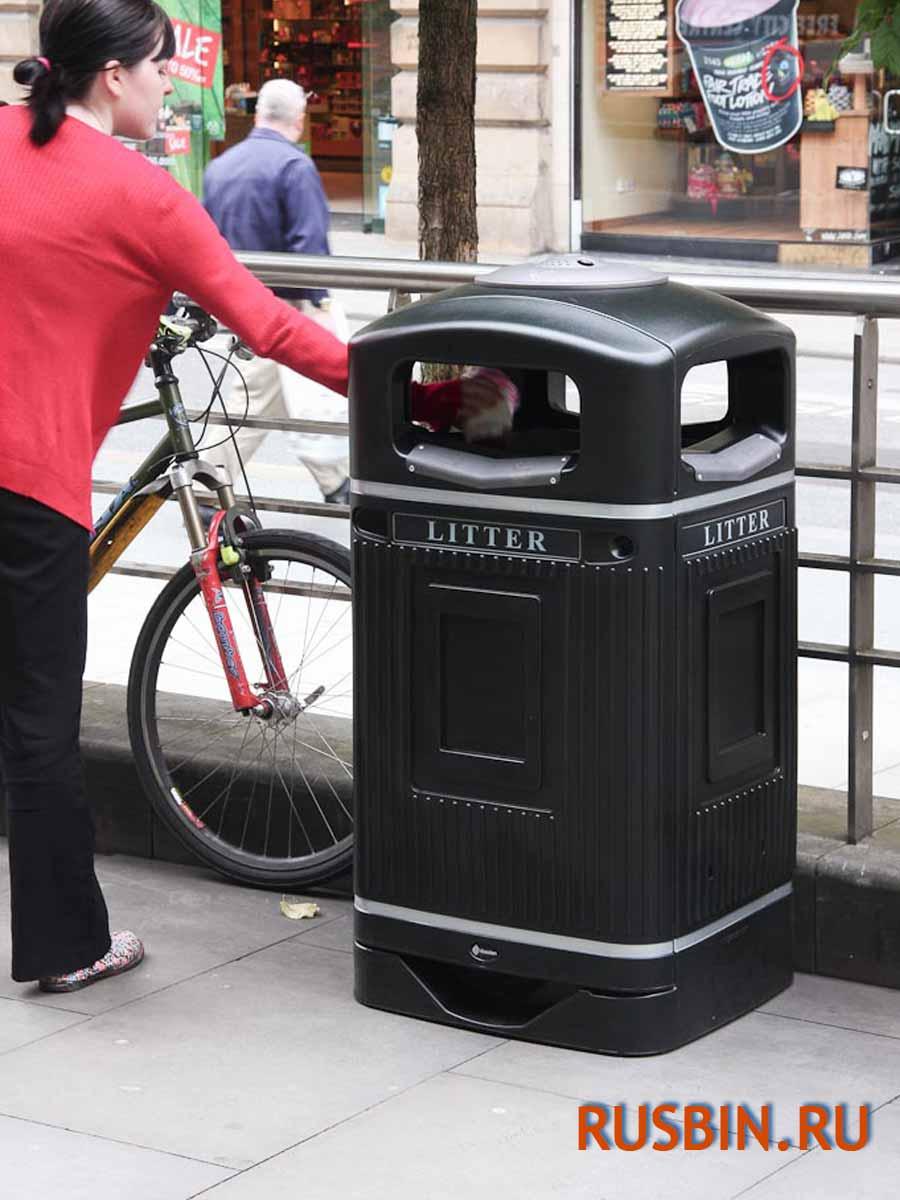 Металлические накладки на приемное мусорное отверстие урны Glasdon Jubille