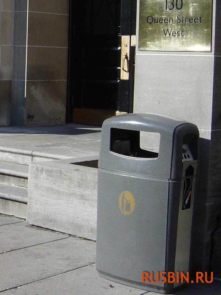 Уличная пепельница урна Glasdon Integro 90 литров серый цвет