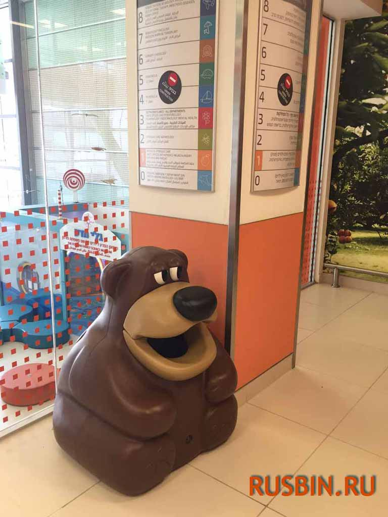 Урна мусорная Медведь Glasdon Tidy Bear в детской школе английского языка