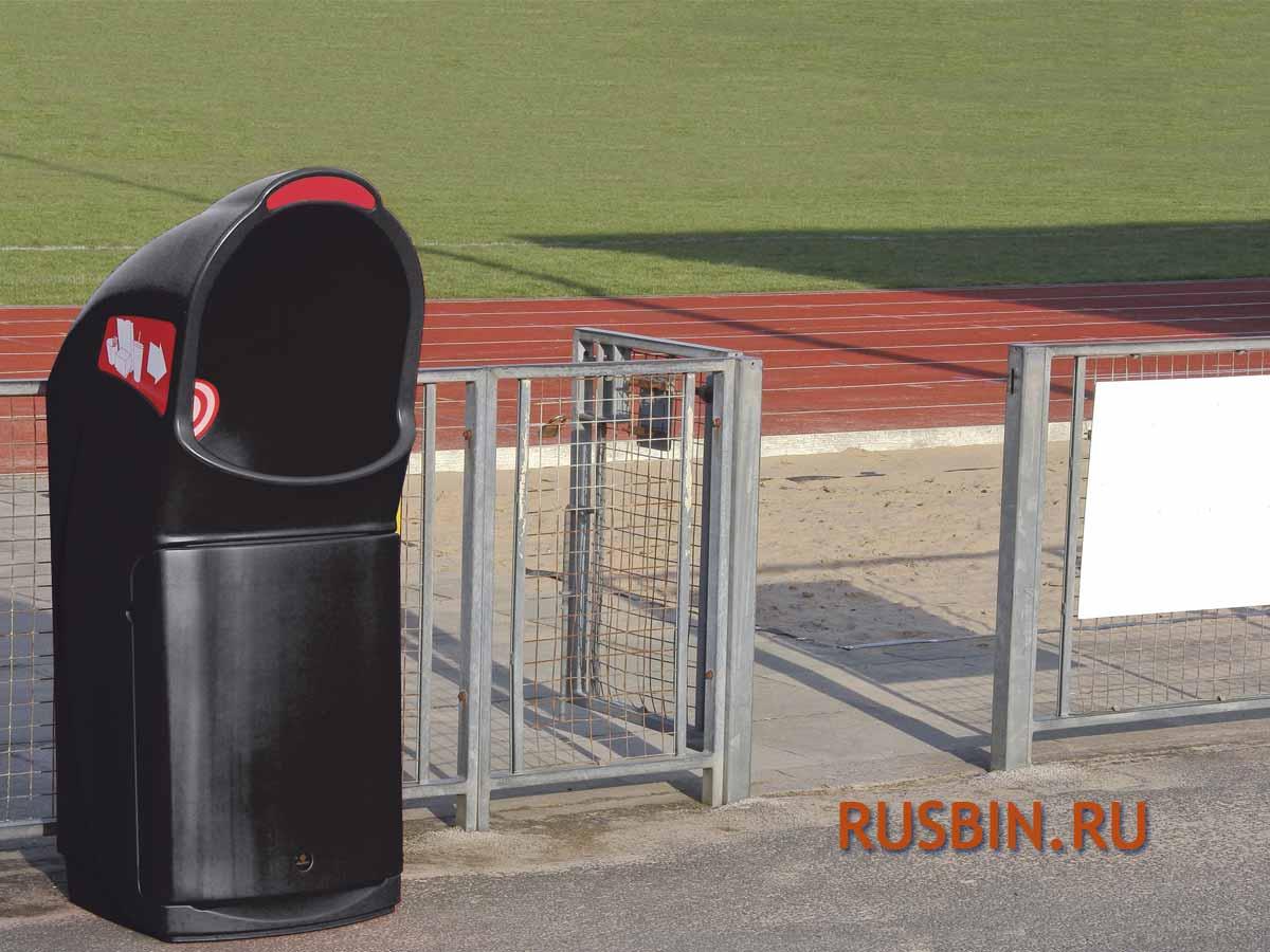 Мусорная урна, установка на стадионе, огромное отверстие, черного цвета GLASDON COMBO DELTA
