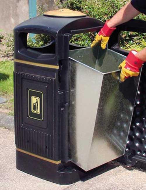 Открытая мусорная урна GLASDON Jubille - установка прямоугольного оцинкованного бака