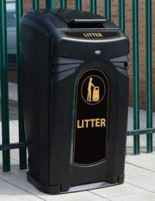 Черный мусорный бак контейнер уличный Glasdon Nexus City 140 240