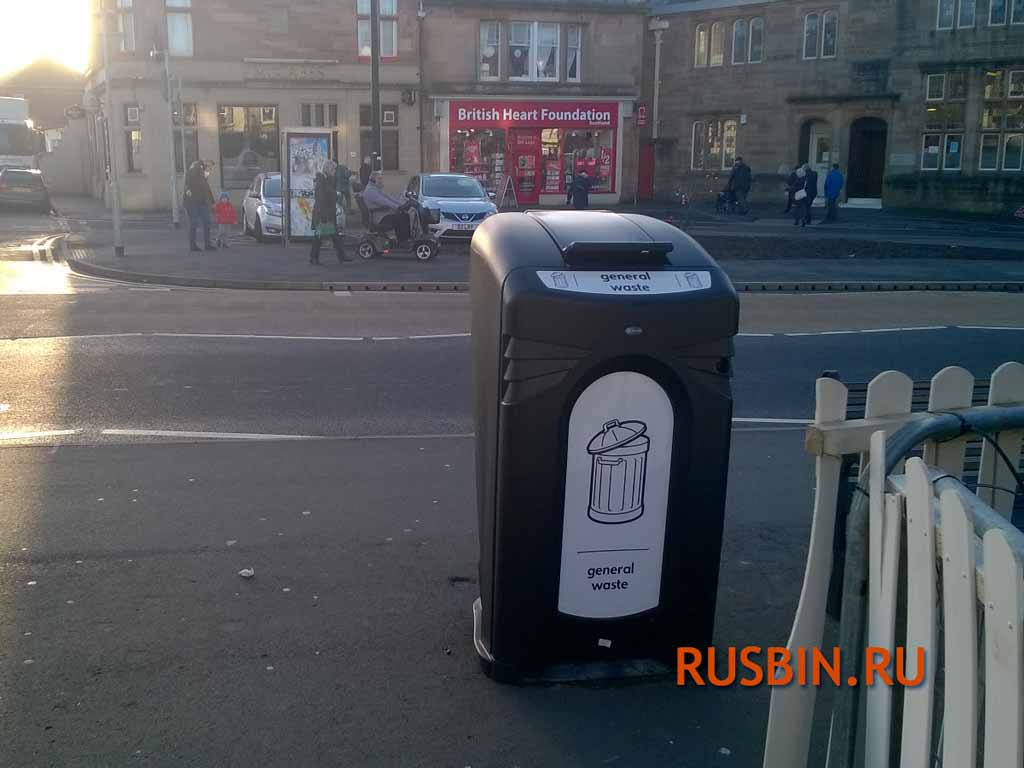 Огромная уличная мусорная урна на 240 литров закрытый контейнер Glasdon Nexus city