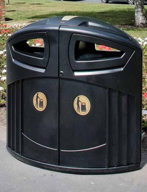 Черная большая мусорная урна с 2 отсеками для улиц Glasdon Nexus 200