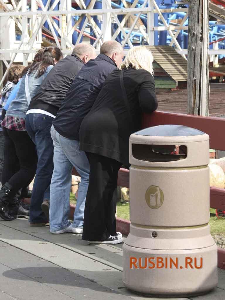 100 литровый мусорный бак Glasdon Plaza цвет слоновой кости