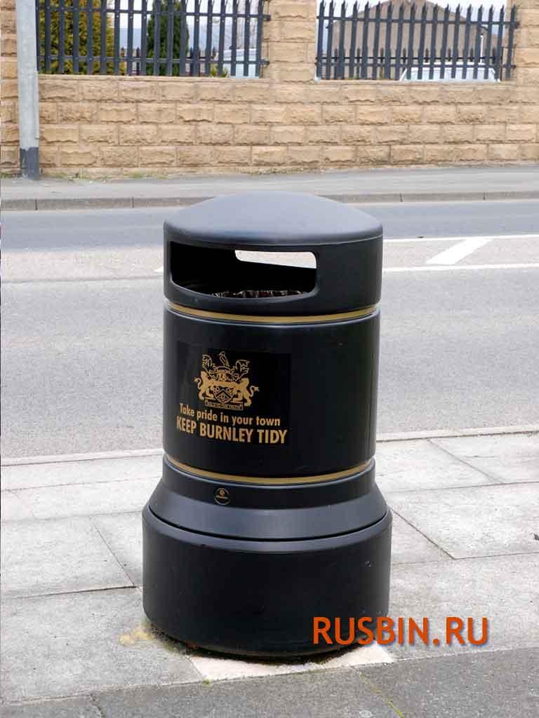 Урны для мусора напольные большие красивые Англия Glasdon Plaza черные