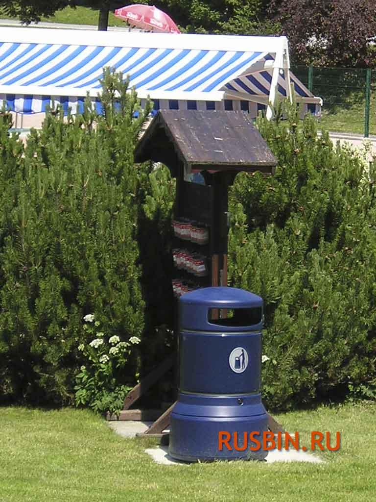 Темно-синие большие мусорные баки 100 литров Glasdon Plaza