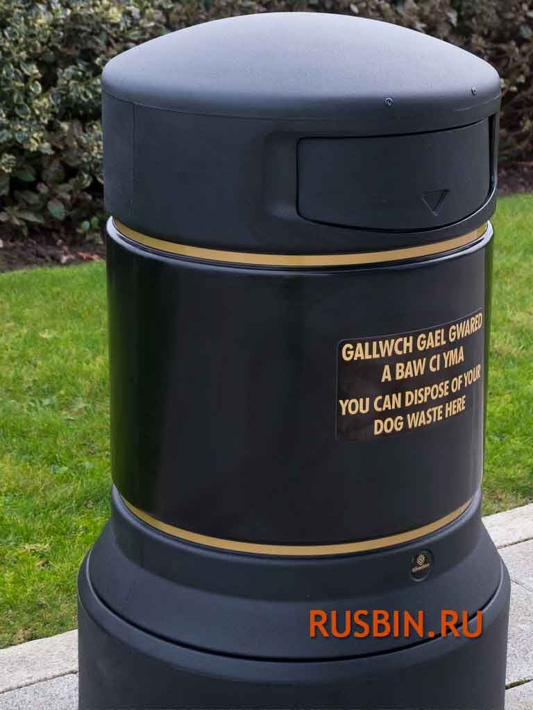 Большие красивые черные мусорные урны Glasdon Plaza из Англии