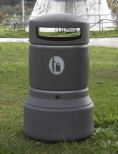 Большая серая уличная урна Glasdon Plaza 100 литров мусорный бак