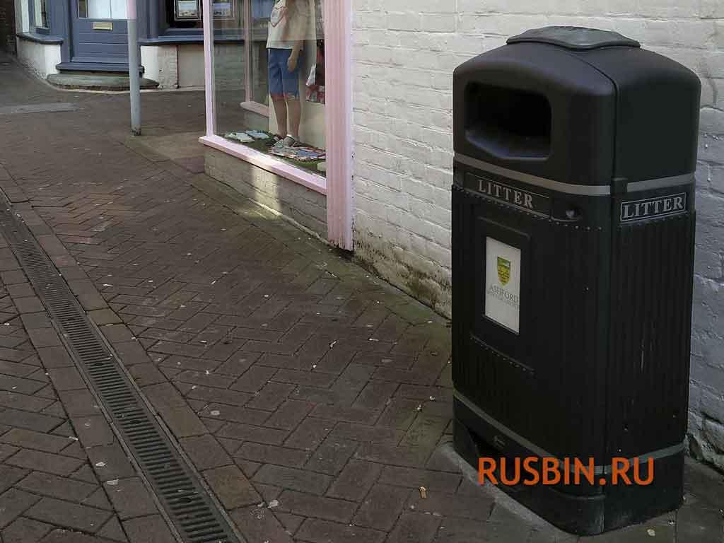 черные мусорные урны с пепельницей 70 литров Glasdon Streamline Jubilee Англия