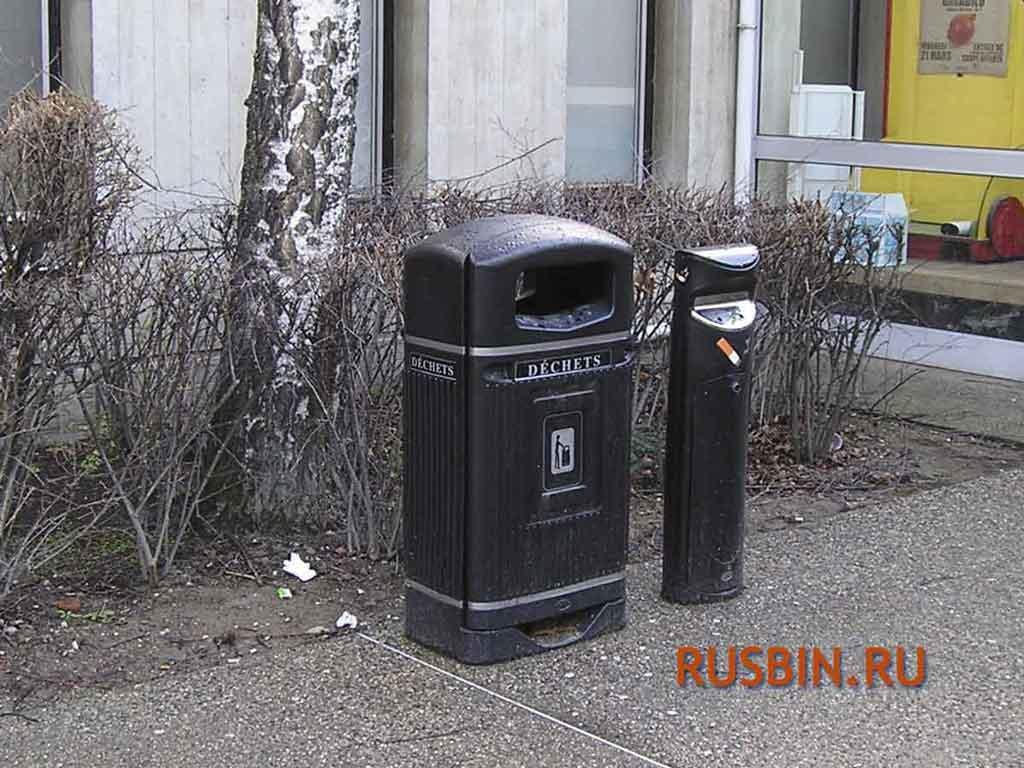 черные урны для мусора из Англии Glasdon Jubilee Strimline 70 литров