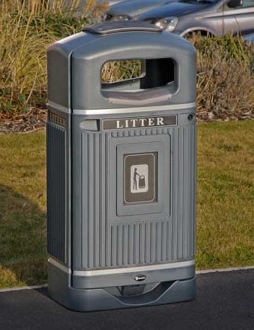 Красивые серые мусорные урны Glasdon Streamline Jubilee 70 литров