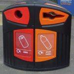 красивая мусорная урна для сортировки мусора Glasdon Nexus 200 на улице