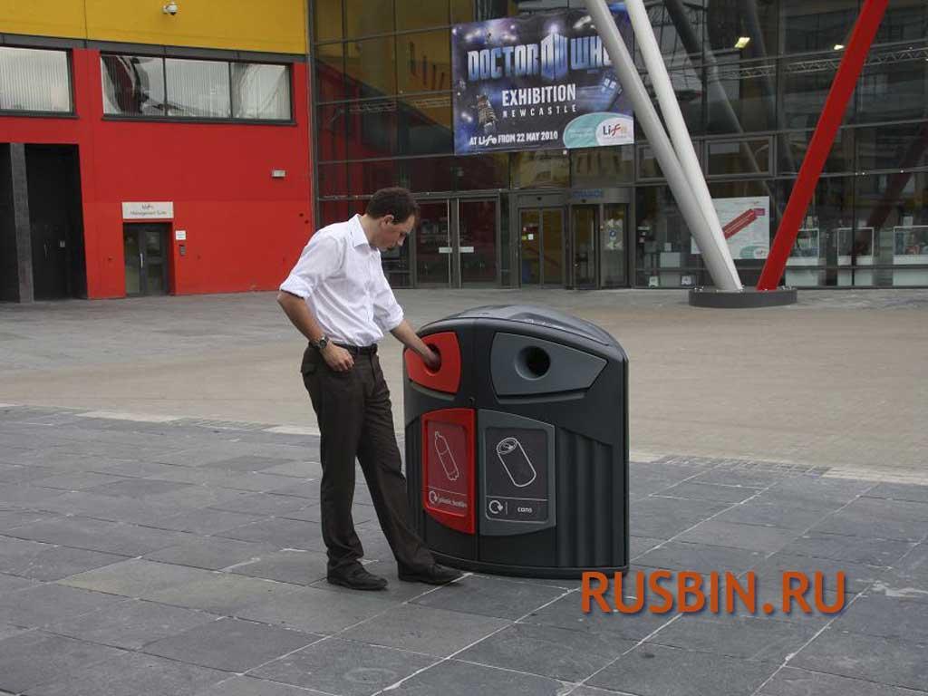 Мусорные красивые контейнеры для раздельного сбора отходов Glasdon Nexus 200