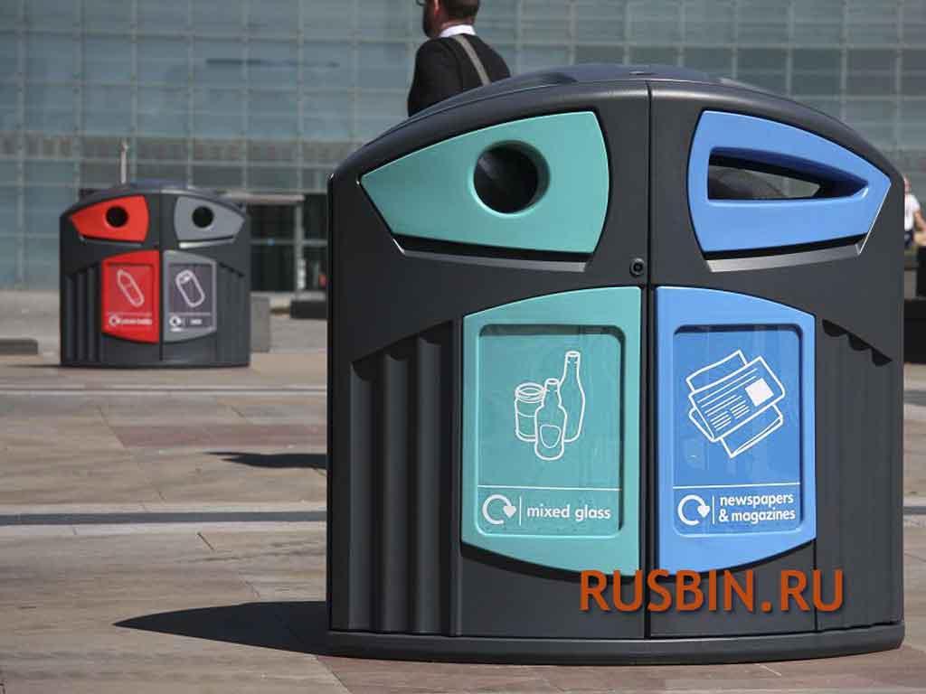 Красивые мусорные урны для сортировки мусора Glasdon Nexus 200
