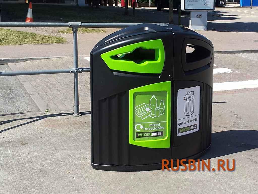 Контейнер для раздельного сбора мусора на улице Glasdon Nexus 200