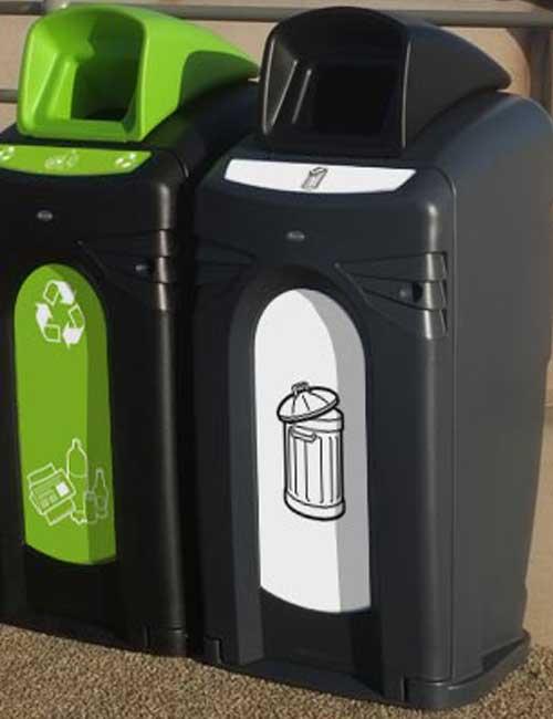 уличный мусорный контейнер для сортировки мусора Glasdon Nexus City 140 черный