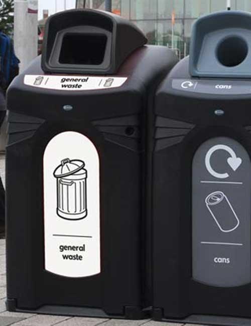 Раздельный сбор мусора на улице в баки Glasdon Nexus City 140