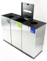 Модульные урны для раздельного сбора мусора - бумага, пластик, прочий мусор