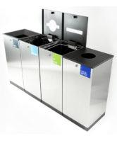 Finbin EDGE - блок мусорных урн для раздельного сбора - общий мусор, переработака, бумага, пластик (бутылки банки)