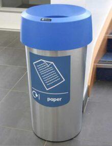 Урна для сбора бумаги в офисе Glasdon (Англия) Vista Round - синяя крышка и наклейка