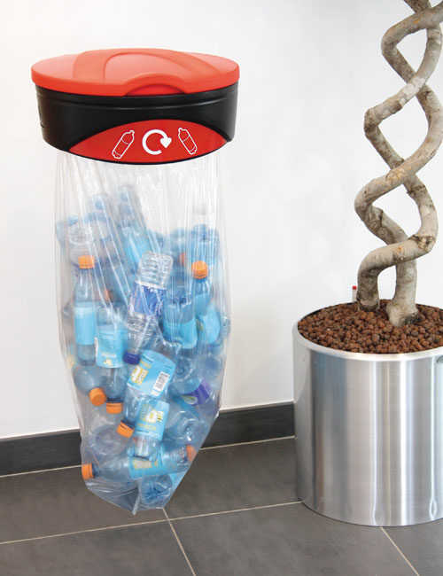Урна с прозрачным мешком для мусора подвесная на стену