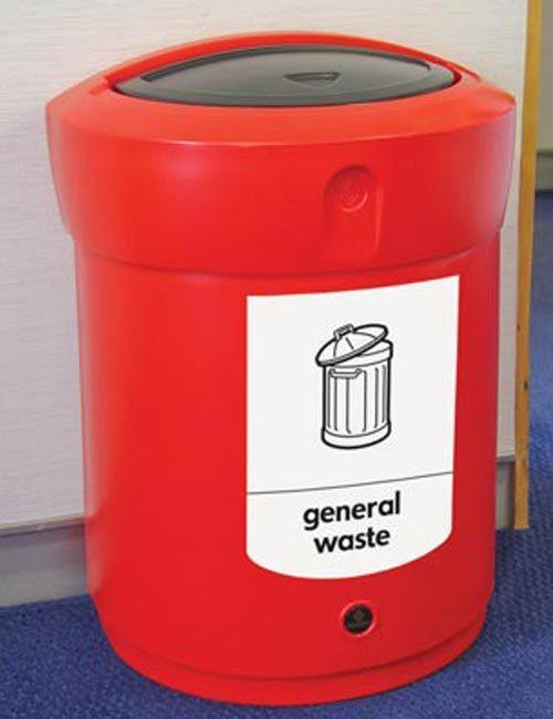 Красная урна с закрытым верхом Glasdon ENVOY 90 литров