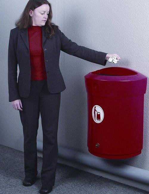 Мусорная урна настенная подвесная 90 литров красная