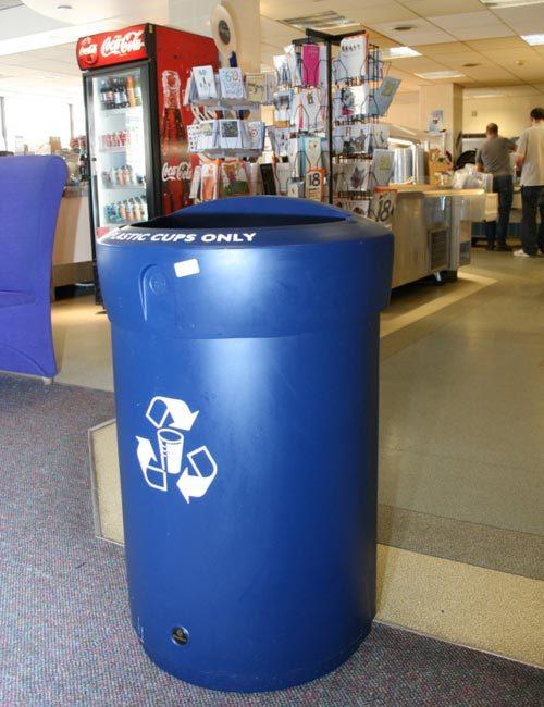 Синяя урна для сбора стаканциков объем 110 литров