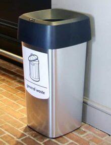Серебристая прямоугольная мусорная урна VISTA GLASDON