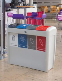 Мусорная урна для 4 типов отходов в помещении EVO GLASDON