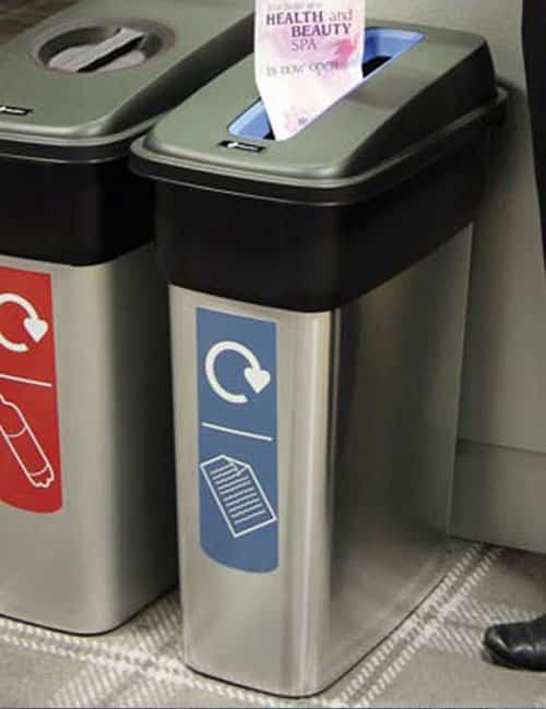 Урна для сбора бумаги в помещении cеребряного цвета Mirage Glasdon