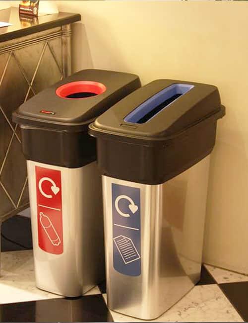 Урны для мусора внутри помещений серебристые Mirage Glasdin