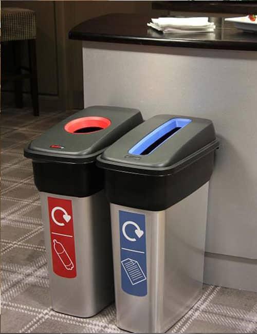 Серебристые мусорные урны для бумаги и пластика Mirage