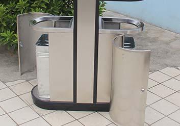 Нержавеющая урна с 2 баками для раздельного сбора мусора и пепельницей