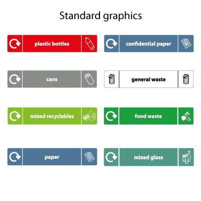 стандартные наклейки на урны Stack